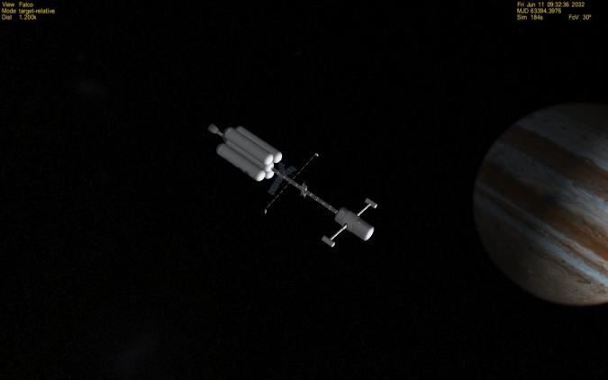 """Die """"Mozart"""" in der Nähe des Jupiters. (Screenshot aus Orbiter)"""