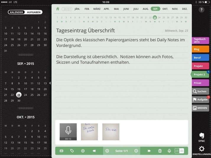 So sieht Daily Notes am iPad aus