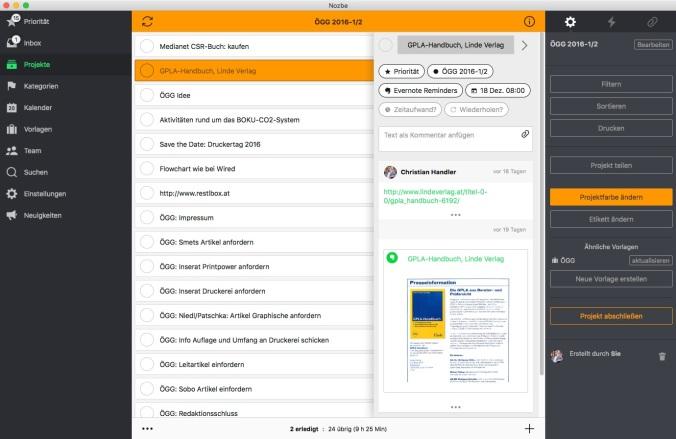 Die Benutzeroberfläche von Nozbe: Effizient und übersichtlich