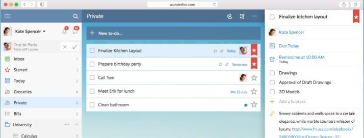 So sieht Wunderlist aus – hier die Windows-Variante (Bild: Wunderlist.com)
